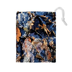 Frost Leaves Winter Park Morning Drawstring Pouches (Large)