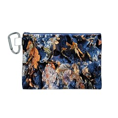 Frost Leaves Winter Park Morning Canvas Cosmetic Bag (M)