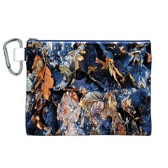 Frost Leaves Winter Park Morning Canvas Cosmetic Bag (XL)