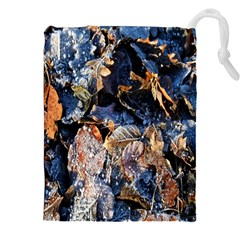 Frost Leaves Winter Park Morning Drawstring Pouches (XXL)