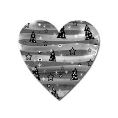 Gray Xmas magic Heart Magnet
