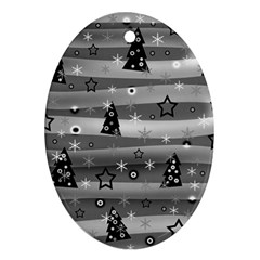 Gray Xmas magic Oval Ornament (Two Sides)