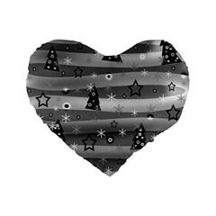 Gray Xmas magic Standard 16  Premium Heart Shape Cushions