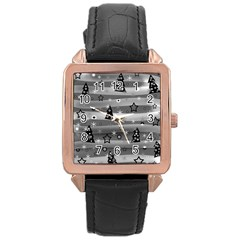 Gray Xmas magic Rose Gold Leather Watch