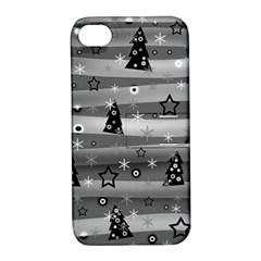 Gray Xmas magic Apple iPhone 4/4S Hardshell Case with Stand