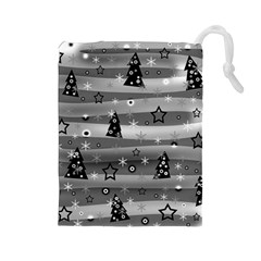Gray Xmas magic Drawstring Pouches (Large)