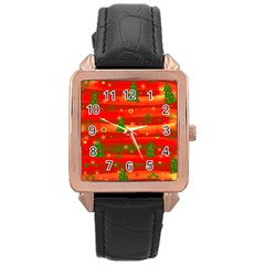Xmas magic Rose Gold Leather Watch