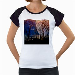 Full Moon Forest Night Darkness Women s Cap Sleeve T