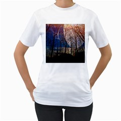 Full Moon Forest Night Darkness Women s T-Shirt (White) (Two Sided)