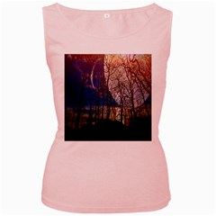 Full Moon Forest Night Darkness Women s Pink Tank Top