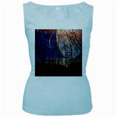 Full Moon Forest Night Darkness Women s Baby Blue Tank Top