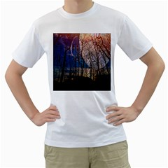 Full Moon Forest Night Darkness Men s T-Shirt (White) (Two Sided)
