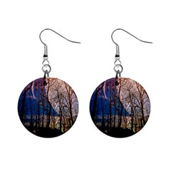 Full Moon Forest Night Darkness Mini Button Earrings
