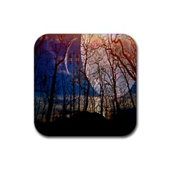 Full Moon Forest Night Darkness Rubber Square Coaster (4 pack)