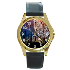 Full Moon Forest Night Darkness Round Gold Metal Watch