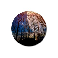 Full Moon Forest Night Darkness Magnet 3  (Round)