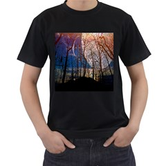 Full Moon Forest Night Darkness Men s T-Shirt (Black) (Two Sided)