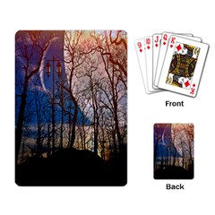Full Moon Forest Night Darkness Playing Card