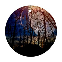 Full Moon Forest Night Darkness Round Ornament (Two Sides)