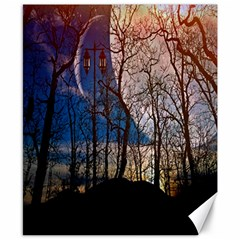 Full Moon Forest Night Darkness Canvas 8  x 10