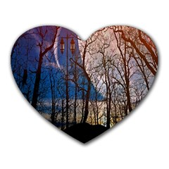 Full Moon Forest Night Darkness Heart Mousepads