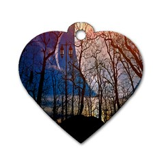 Full Moon Forest Night Darkness Dog Tag Heart (One Side)