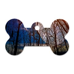 Full Moon Forest Night Darkness Dog Tag Bone (Two Sides)
