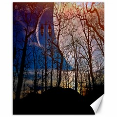 Full Moon Forest Night Darkness Canvas 11  x 14