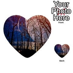 Full Moon Forest Night Darkness Multi-purpose Cards (Heart)