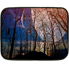 Full Moon Forest Night Darkness Fleece Blanket (Mini)