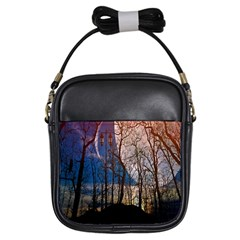 Full Moon Forest Night Darkness Girls Sling Bags