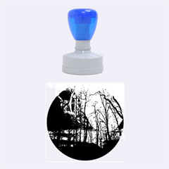 Full Moon Forest Night Darkness Rubber Round Stamps (Medium)
