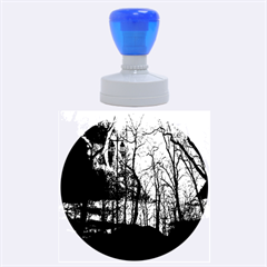 Full Moon Forest Night Darkness Rubber Round Stamps (Large)