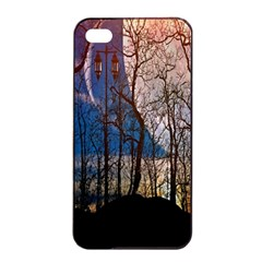 Full Moon Forest Night Darkness Apple iPhone 4/4s Seamless Case (Black)