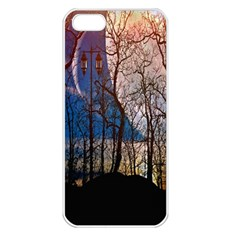 Full Moon Forest Night Darkness Apple iPhone 5 Seamless Case (White)