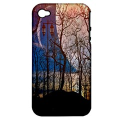 Full Moon Forest Night Darkness Apple iPhone 4/4S Hardshell Case (PC+Silicone)