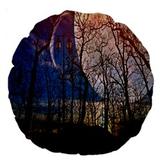 Full Moon Forest Night Darkness Large 18  Premium Round Cushions