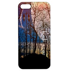 Full Moon Forest Night Darkness Apple iPhone 5 Hardshell Case with Stand