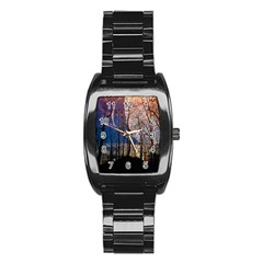 Full Moon Forest Night Darkness Stainless Steel Barrel Watch