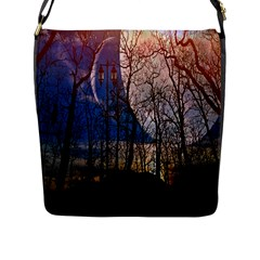Full Moon Forest Night Darkness Flap Messenger Bag (L)