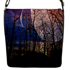 Full Moon Forest Night Darkness Flap Messenger Bag (S)