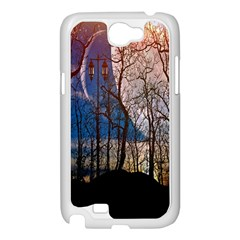 Full Moon Forest Night Darkness Samsung Galaxy Note 2 Case (White)