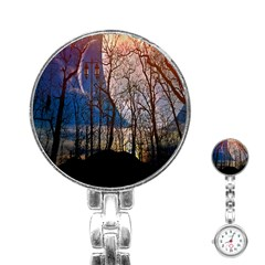 Full Moon Forest Night Darkness Stainless Steel Nurses Watch
