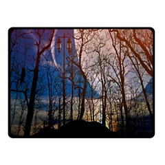 Full Moon Forest Night Darkness Double Sided Fleece Blanket (Small)