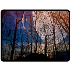 Full Moon Forest Night Darkness Double Sided Fleece Blanket (Large)