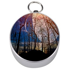 Full Moon Forest Night Darkness Silver Compasses