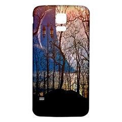 Full Moon Forest Night Darkness Samsung Galaxy S5 Back Case (White)