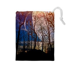 Full Moon Forest Night Darkness Drawstring Pouches (Large)
