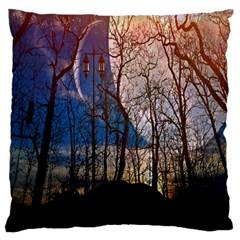 Full Moon Forest Night Darkness Large Flano Cushion Case (One Side)