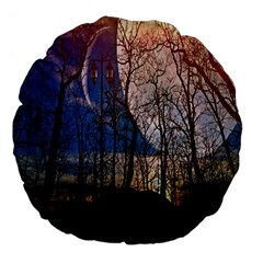 Full Moon Forest Night Darkness Large 18  Premium Flano Round Cushions